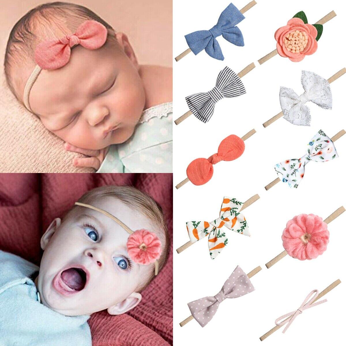 Baby Girl Bow Headband Hair Accessory Kids Hair Band Elastic Stretchy 1//10 pcs