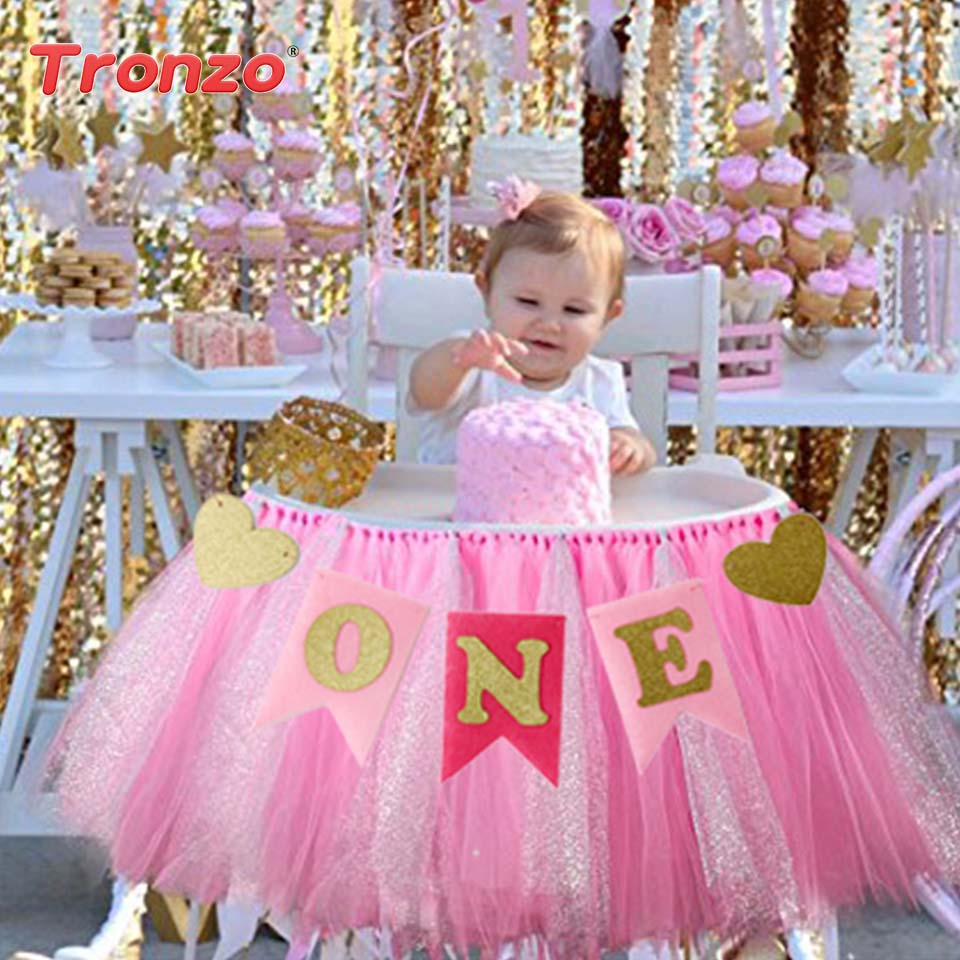 Tronzo 1Set Birthday Party Banners Boy Girl First Birthday Supplies Blue Pink ONE Letter Heart Paper Chair Flags For Baby Shower