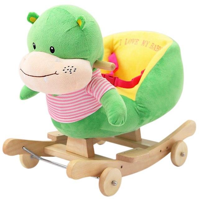 Kingtoy Plush Baby Rocking Chair Children Wood Swing Seat Kids Outdoor Ride  On Rocking Stroller Toy