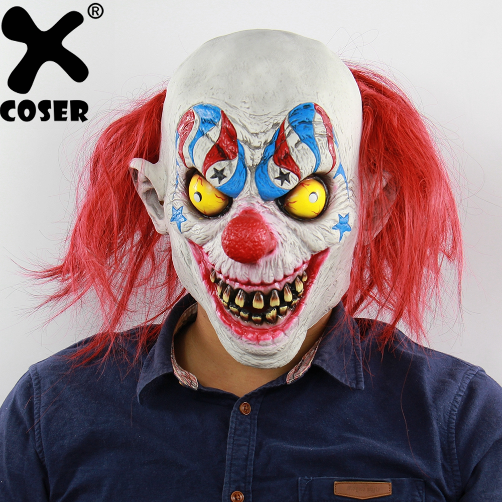 XCOSER Halloween Horror Circus Clown Latex Ghost Mask Halloween Cosplay Costume For Adult