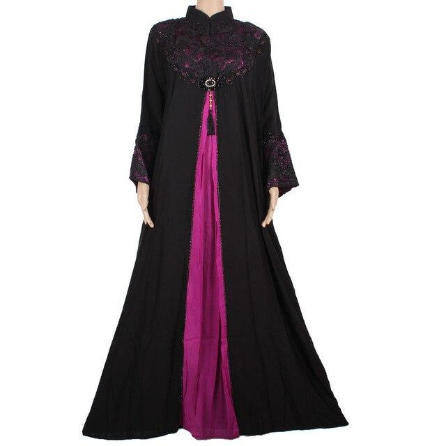 Новое Прибытие Исламская Одежда Мусульманская Черный Абая Платья для Женщин 2015 Роскошный Дубай Кафтан RobeTurkish Женская Одежда 130C