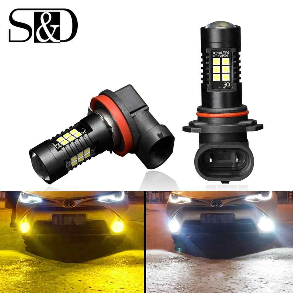 2Pcs H8 H11 Led Bulb HB4 Led HB3 9006 9005 Fog Lights 1200LM DRL Daytime Running Car Auto Lamp 6000K White 3000K Golden Yellow