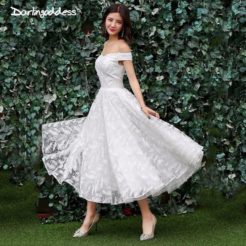 Short Wedding Dress Vintage Short Sleeve Off Shoulder