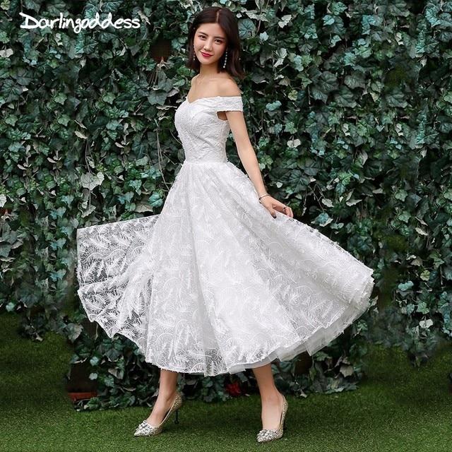 3d755ba225 Short Wedding Dress Vintage Short Sleeve Off Shoulder Wedding Dress Beach  2018 Wedding Gowns for Plus Size Vestido De Noiva