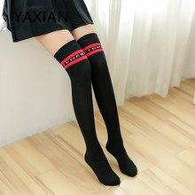 f9747dbbd8a Autumn and winter Black Knee socks Letter Stars long stockings cotton 2018  NEW High socks Thigh socks Korean Ulzzing