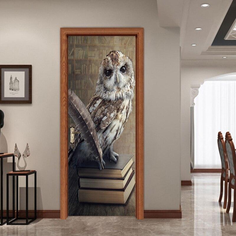 Cartoon Owl Standing On Book  Door Stickers Decor Kids Child Bedroom Living Room Decoration Wallpapers Home YMT053