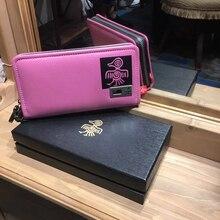 Купить с кэшбэком SUNBIRD Women Wallets Long Zipper Genuine Leather Female Clutches Bags With Cellphone Holder ID Card Holder Wallet With Gift Box