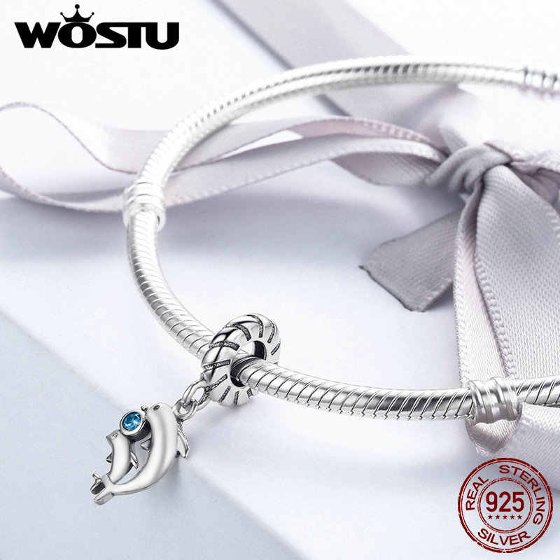 WOSTU 100% Real 925 Sterling Silver Dolphins Tales Dangle Bead Fit Original WST Charm Bracelet Pendant Jewelry Gift DXC264
