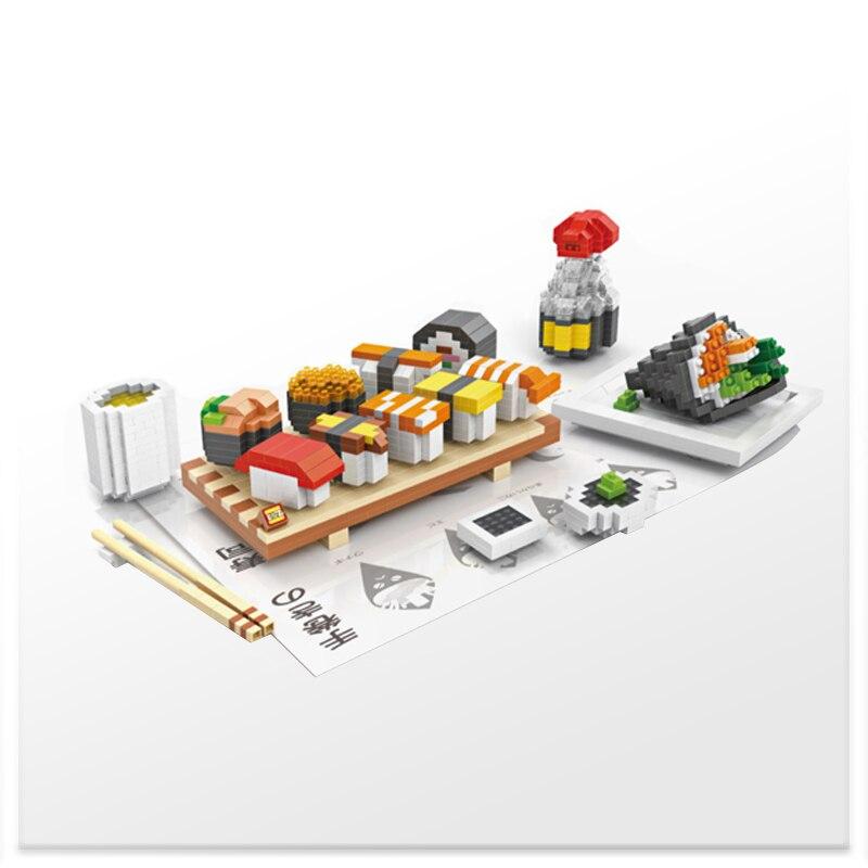 LOZ The Japanese Sushi Blocks DIY Fast Food Hamburger Chips Milkshake Educational For Child Adult Toys