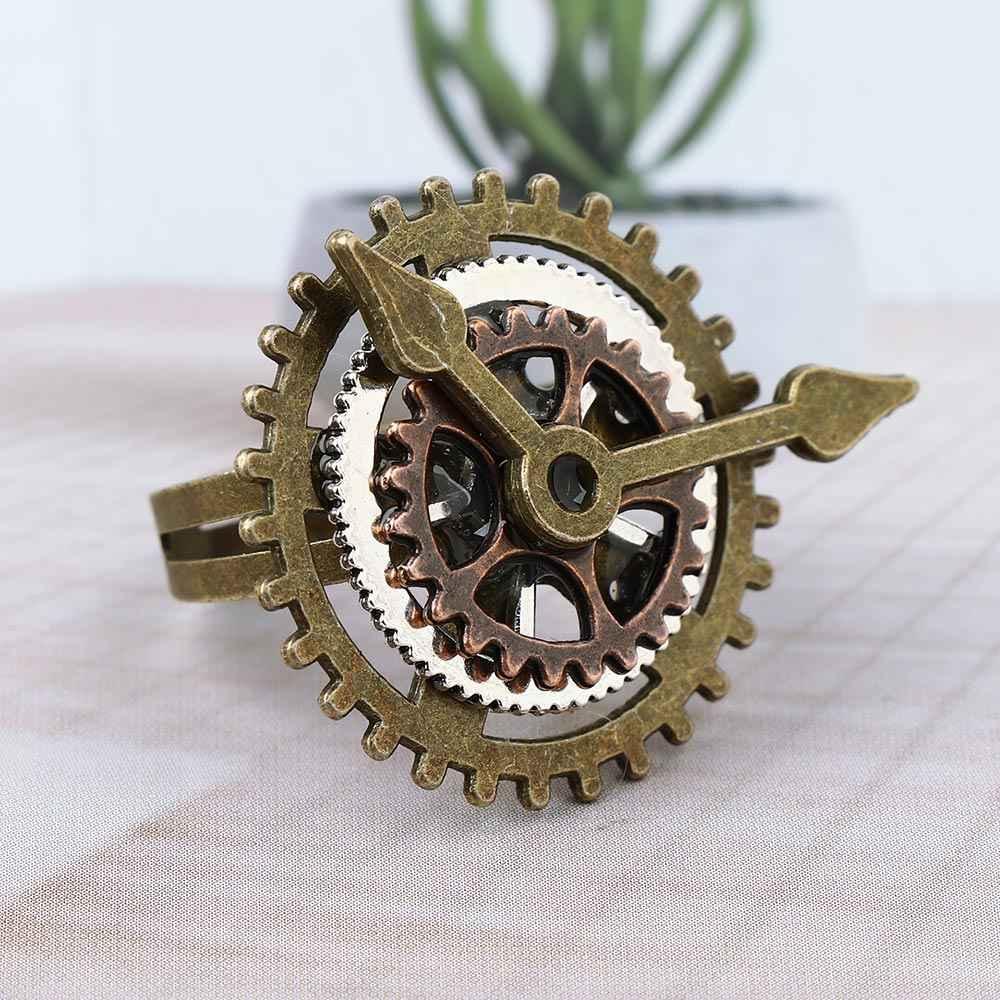 1 шт. панк ретро Шарм стимпанковый механизм пальцы винтажные часы медные кольца модные вечерние ювелирные изделия для женщин мужчин spda29b32