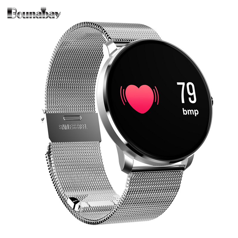 BOUNABAY Smart sports Heart Rate Monitor watch for man auto Bluetooth Multi-lingual Watches Men Fashion Clock Android IOS Clocks no 1 g6 asia bluetooth 4 0 heart rate monitor smart watch black