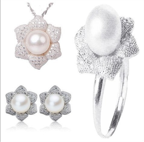 3 color Real Genuine Natural Freshwater Pearl Jewelry Set Fashion Charm Jewelry Set
