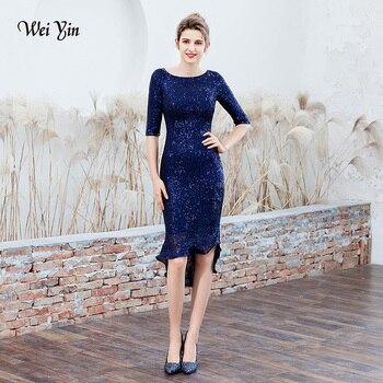 weiyin Navy Blue O Neck Sequin Gown Sexy Mermaid Dress Elegant Short Evening Dresses Vestido Formal Evening Dresses WY1779