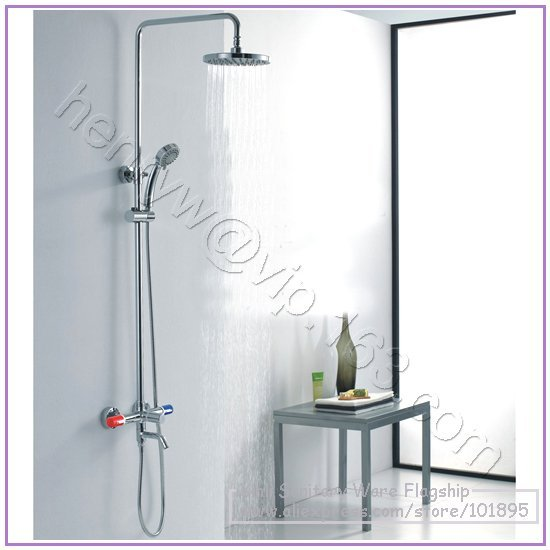 L15170 Luxury High Quality Brass Head Rain Overhead Shower Double Handle Shower Faucet In Shower