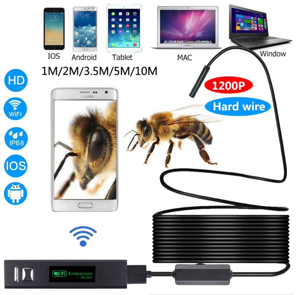 1200P WiFi Endoscope Mini Waterproof IP68 1-10M Hard wire option Inspection Camera 8mm Lens 8LED Borescope For IOS Android PC mool 10m wifi usb waterproof borescope hd endoscope inspection camera for android ios