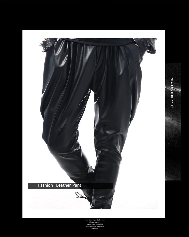 Best version, New Fashion Brand Hip Hop personality Performance sweatpants Male Trousers stage Faux Leather Harem pants 37