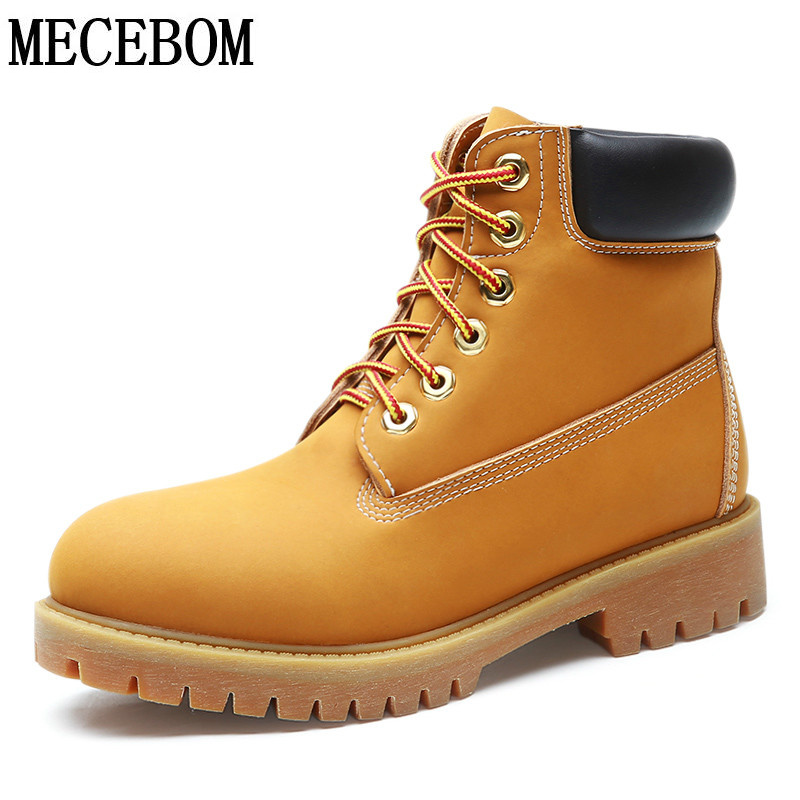 Men's autumn winter ankle boots fashion yellow genuine leather shoes lace-up high-top unisex botas moccasins size 35-44 1460-9 front lace up casual ankle boots autumn vintage brown new booties flat genuine leather suede shoes round toe fall female fashion