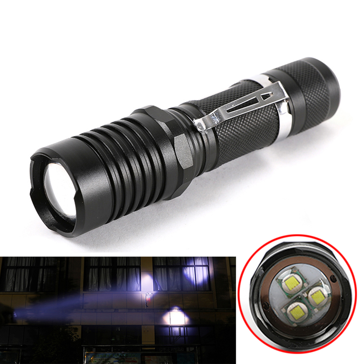 20000Lumen T6 LED Flashlight Magnetic Bright Lamp Zoomable Portable Torch 3Modes