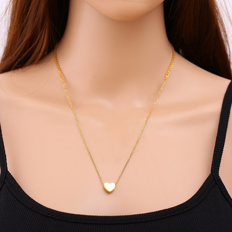 Купить с кэшбэком Stainless Steel Heart Pendant Necklace Gold Silver Color Chain Charm Choker For Women Lady Girl Necklace Fashion Jewelry Gift