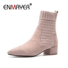 ENMAYER Women Ankle Boots Size 34-39 Causal Med Heels Thick Fashion Pointed Toe Shoes woman Slip on Kid Suede CR1243