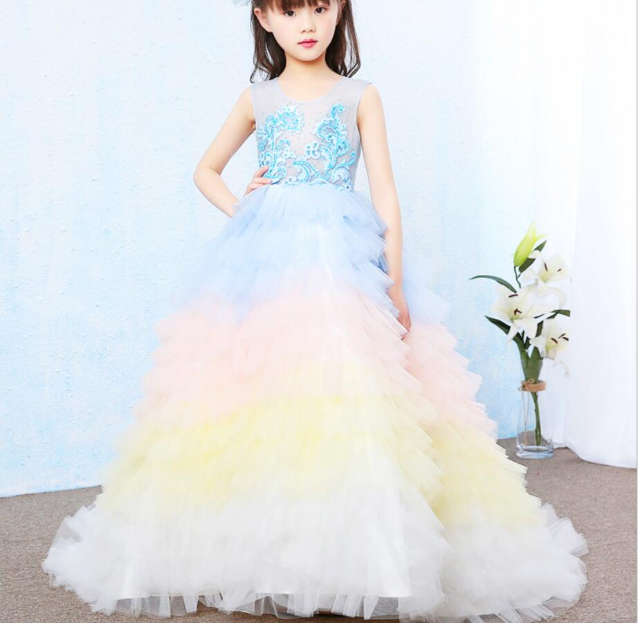 Princess Girls Dress Fairy Tales Deluxe Cosplay Costume  Blue Gown Kids Party Halloween Birthday Clothes HW2335Princess Girls Dress Fairy Tales Deluxe Cosplay Costume  Blue Gown Kids Party Halloween Birthday Clothes HW2335