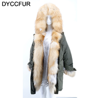 DYCCFUR 2017 Real Fox Fur Down Jacket Brand Long Women Winter Coat Real Fox Fur Double