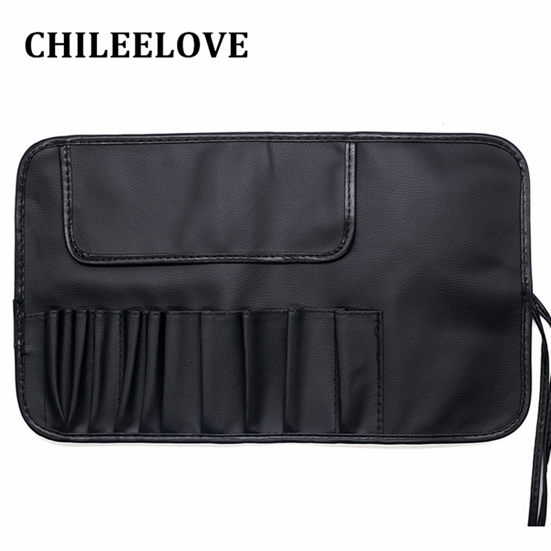CHILEELOVE Black Cosmetic Bag Makeup Brushes Kit Bag Handbag Pouch For 10 Piecs Make Up Brushes(Without Brush)