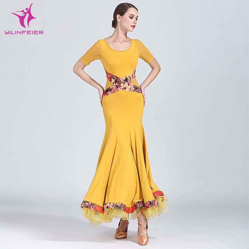 Mei Yu S9037 Modern Dance Costume Women Ladies Adults Dancewear Waltzing Tango Ballroom Costume Evening Party Dress 2019 New Fashion Style Online Stage & Dance Wear