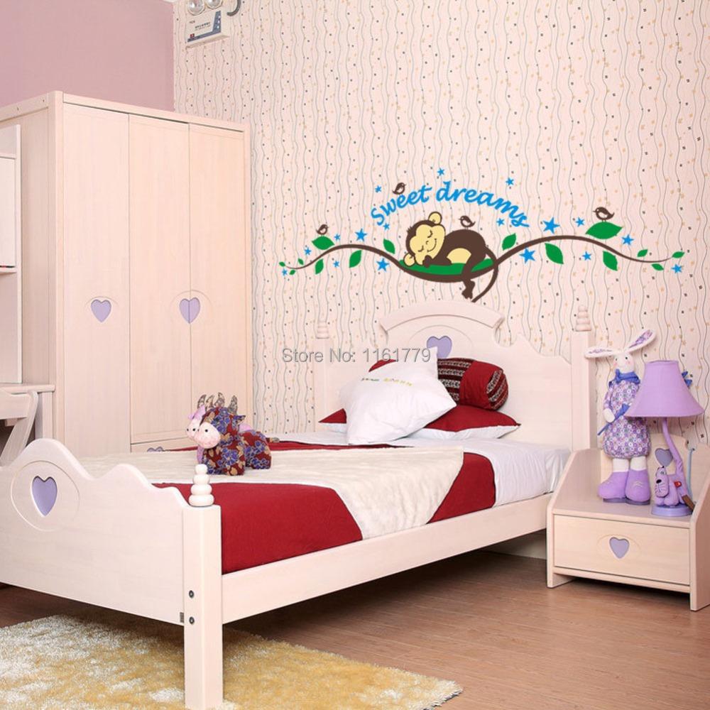 lp diy de dibujos animados mono pegatinas de pared nios decoracin de la habitacin de vinilo pared para habi