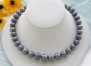 """HUGE REAL 17"""" 13mm ROUND peacock black PEARL NECKLACE"""