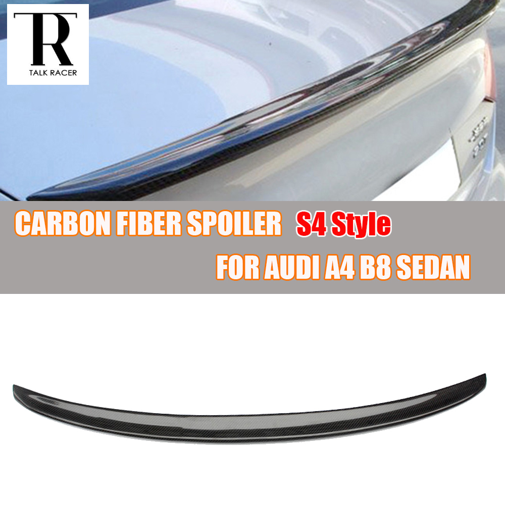 A4 B8 S4 Style Carbon Fiber Rear Trunk Spoiler Wing for Audi A4 B8 Standard 4 Door Sedan 2009 2010 2011 2012 ( not fit Sline ) carbon fiber car moulding decorative fins canards front sticker splitter for audi s3 sline sedan 4 door 13 16 not a3 standard page 8