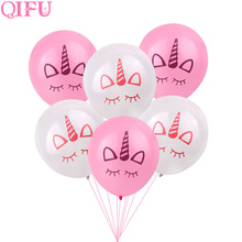 QIFU Latex Ballons Air PhotoBooth Props Porte-clés Unicorn Party Ballons Licorne Ballons Anniversaire Party Décorations Enfants Bannière