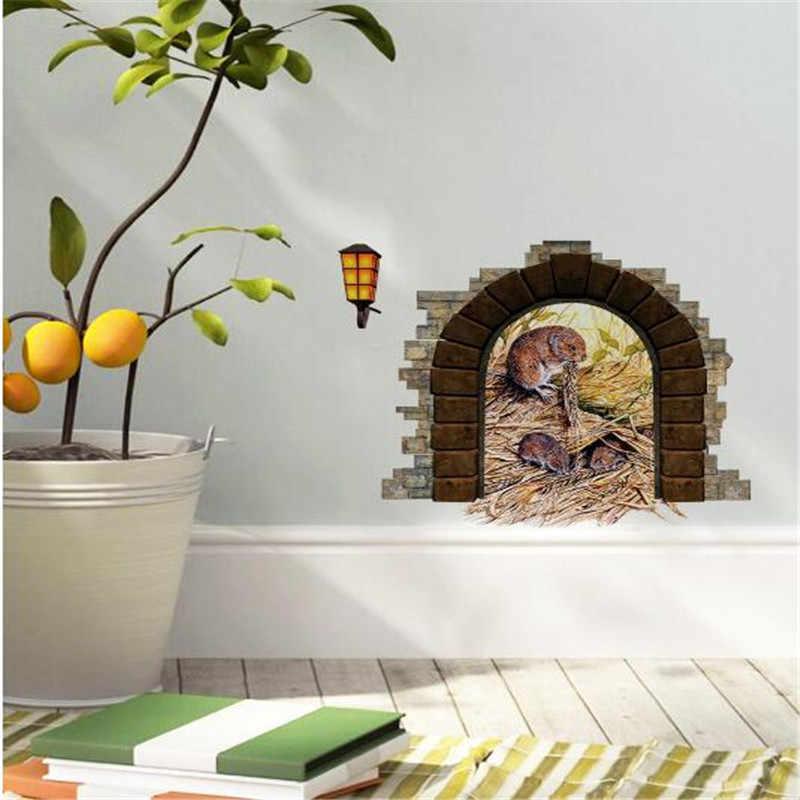 3D Chú Chuột Nhỏ Lỗ Tường Dán Miếng Dán Cửa Phòng Trẻ Phòng Khách Phòng Ngủ DIY Trang Trí Nhà