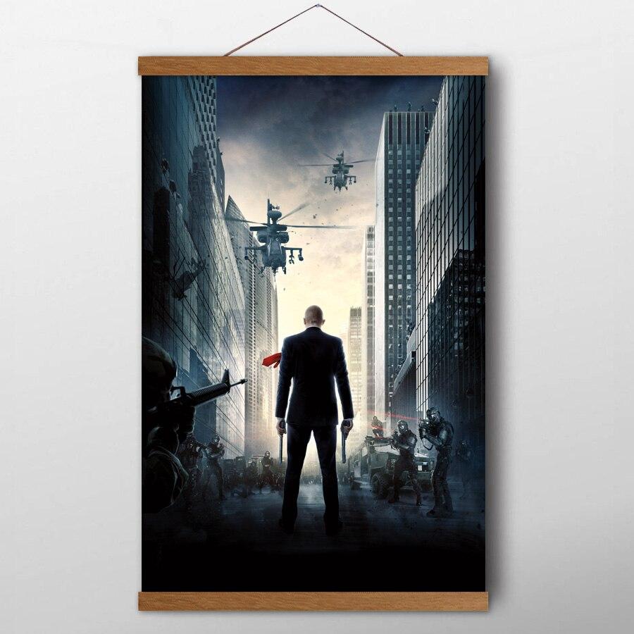 Teak Wood Hanging Scrolls Paintings Hitman Agent 47 Movie Poster