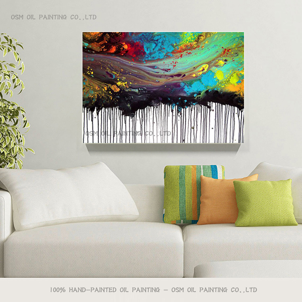 Professional Artist Handmade High Quality Fashion Colors Abstract Oil Painting on Canvas Rich Colors Abstract Oil Painting