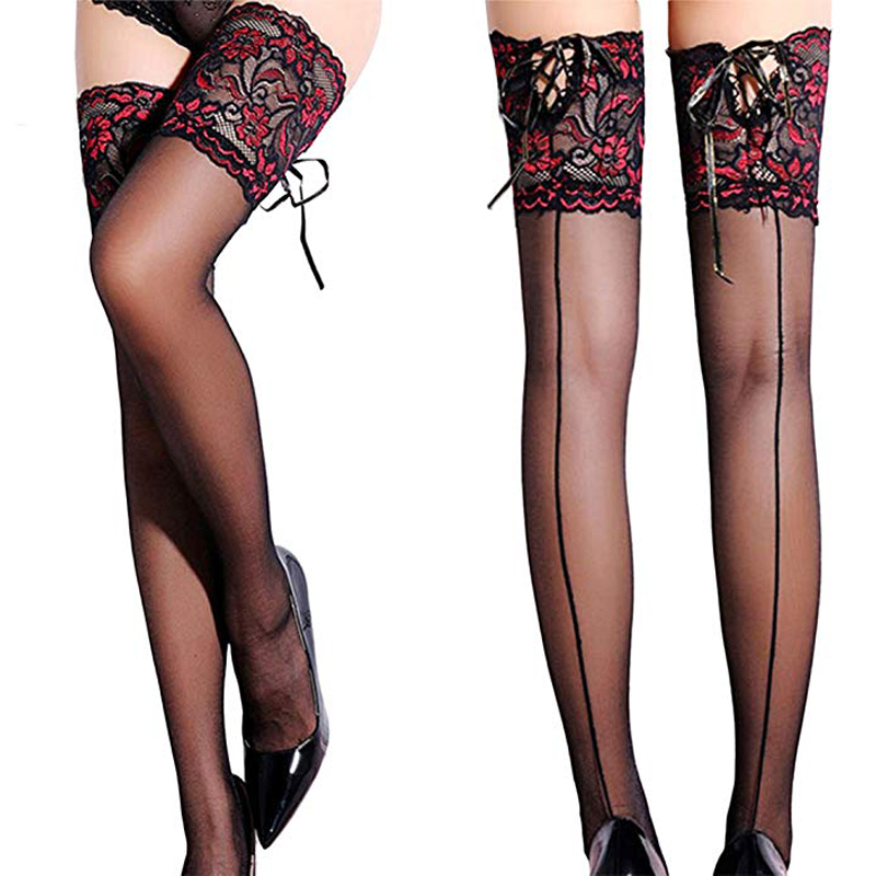 Punk Maid Sexy Cuban Heel Back Seam Stockings Wide Lace UP Hold Up Silicone Floral Top Thigh High Cross Bandage Stockings