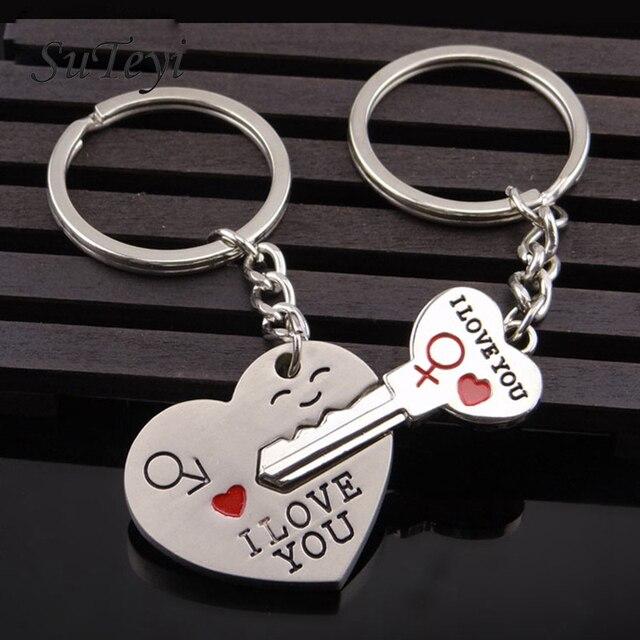 SUTEYI Moda Amantes Amor Corrente Chave Anel Chave Do Coração Cor Prata  presente do Dia Dos 68350382bf
