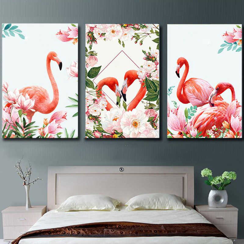 3 Pcs/Set Flamingo Animals Abstract Painting Diy Digital Painting By Numbers Modern Wall Art Picture For Home Wall Artwork