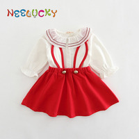 Baby girl clothes baby dress suit strap dress cute fashion