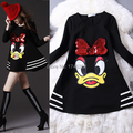 maternity clothes paillette cartoon donald duck sweatshirt mm maternity 200 one-piece dress clothes for pregnant women big size