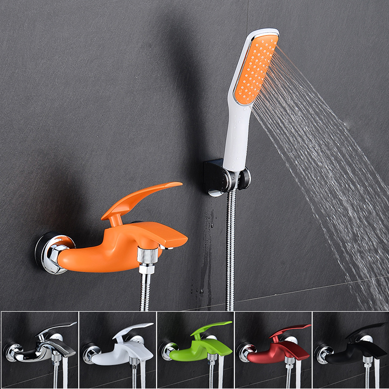 BAKALA Brass Bath Color Faucets Wall Mounted Bathroom Basin Mixer Tap Crane With Hand Shower Head