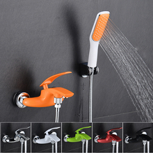 BAKALA Brass Bath Color Faucets Wall Mounted Bathroom Basin Mixer Tap Crane With Hand Shower Head Bath & Shower Faucet 2017001