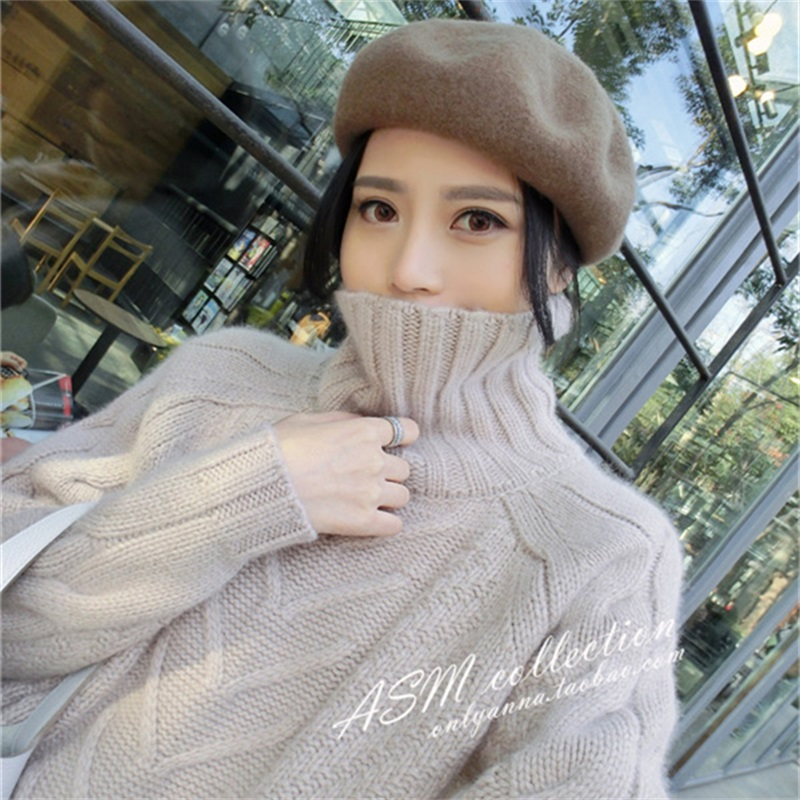 GejasAinyu2018Autumn Winter The New Women s high collar Sweater Cashmere sweater Long loose Pullover knitting Twist