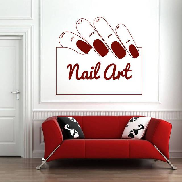 nail salon sticker nail art decal name posters vinyl wall art decals decor decoration mural. Black Bedroom Furniture Sets. Home Design Ideas