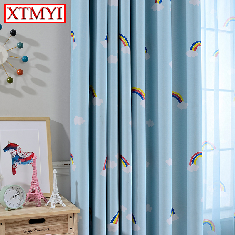 Children Blackout Curtains For Living Room Baby Boys Girls Cartoon Sheer  Curtains Full Sun Shading