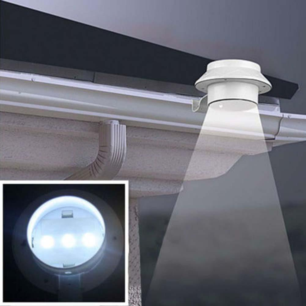 Solar powered 3 led outdoor lights lamp fence gutter roof for Led yard lights