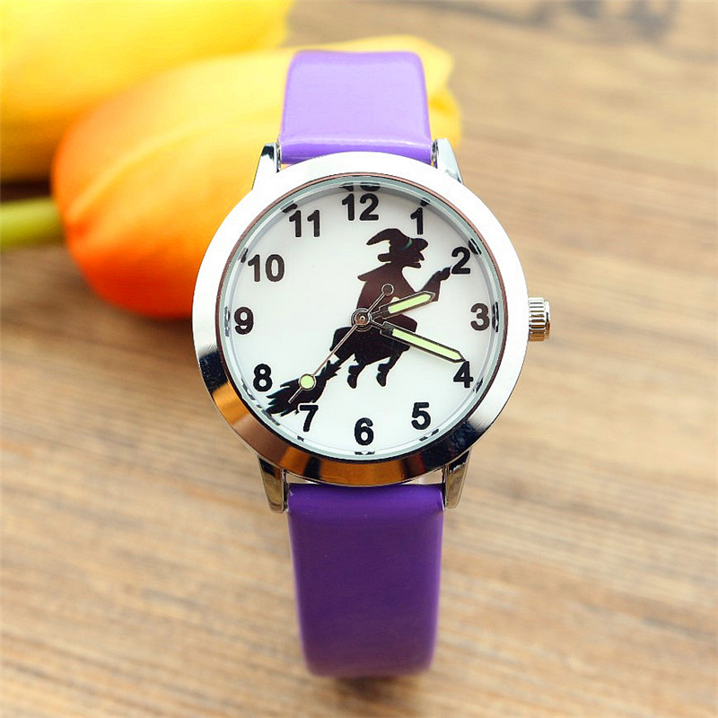 Nazeyt New Fashion Witch Dial Boys And Girls Kids Watch Children Luminous Hand Leather Halloween Gift Clock Reloj De Cuarzo