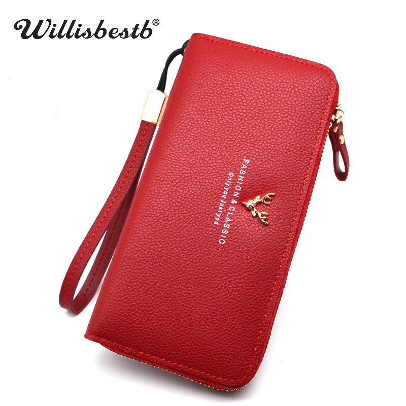 New Coin Purse Women Wallets Female Long Zipper Clutch Leather Wallet Woman Phone Card Holder Brand Design Feminina Carteira