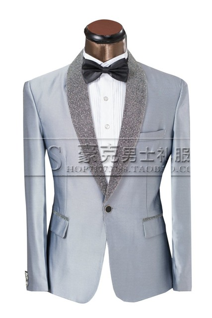 Jacket+Pants+Bowtie)Silver Style Men\'s Suits Blazer Slim Fit Stage ...