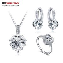 LZESHINE New Fine 2017 Women Romantic Heart Shape AAA Zircon Wedding Jewelry Earring/Necklace/Ring Bridal Jewelry Set CST0033
